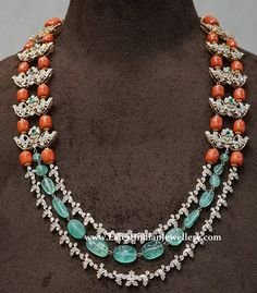 Brilliantly designed coral and diamond necklace in layered design combined with sea green hued emeralds. Beaded Jewelry Designs, Bead Jewellery, Gems Jewelry, Pandora Jewelry, Necklace Designs, Beading Jewelry, Handmade Jewellery, Diamond Jewelry, Coral Jewelry