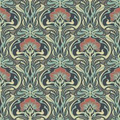 Crown CWV ft Moss Paper Floral Unpasted Paste the Paper Wallpaper at Lowe's. With a prominent moss hue, this nouveau floral wallpaper has a glamorous yet earthy feel. Its brilliant ogee design features blossoming red flowers and Wallpaper Colour, Luxury Wallpaper, Paper Wallpaper, Green Wallpaper, Wallpaper Roll, Wall Wallpaper, Peacock Wallpaper, Funky Wallpaper, Hippie Wallpaper