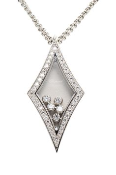 Vintage Chopard 18K White Gold Diamond Pendant Necklace