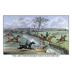 Buyenlarge 'Hunters Clear the Ditch' by Henry Thomas Alken Painting Print