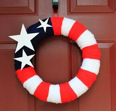 DIY 4th of July wreath!  So easy and inexpensive with yarn! LOVE!