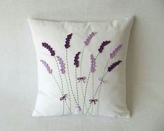by ajk - SAShE. Cushion Embroidery, Embroidery Flowers Pattern, Hand Embroidery Stitches, Hand Embroidery Designs, Embroidery Patterns, Pillow Crafts, Diy Pillows, Decorative Pillows, Cushion Cover Pattern