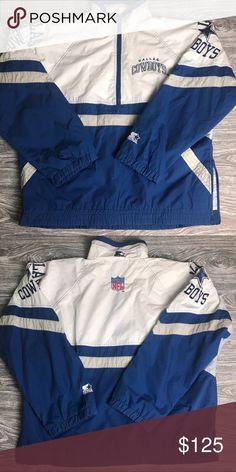 ac29eac8b (VTG) Men's L STARTER DAL Cowboys Pullover Jacket * VINTAGE • CLASSIC •  COMFY