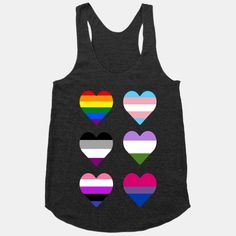 Equality for all, show that it's all love! With this heart design made from the Gay, Transgender, Asexual, GenderQueer, Bisexual and Gender Fluid Pride Flags!