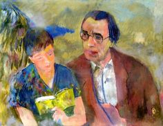 Bernáth, Aurél Lőrinc and Marili reading (Marili reads to Lőrinc Szabó), 1957 Paintings, Artists, Reading, Books, Livros, Paint, Painting Art, Artist, Word Reading