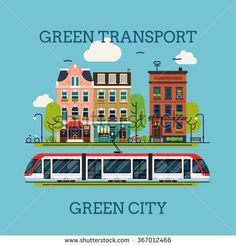 Lovely vector concept layout on ecological friendly green electric public transport in city. Green transport means green city. Environment friendly urban public transport flat design illustration - stock vector