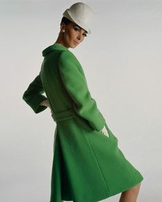 """1966 Model Wilhelmina Cooper,wearing coat by """"Originala"""",and hat by """"Lilly Danches"""".Vogue,January"""