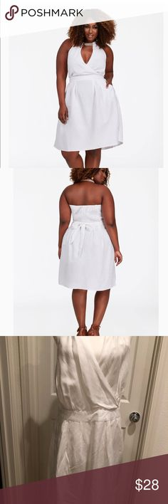 0ae25651a47 BRAIDED HALTER LINEN DRESS- ASHLEY STEWART SIZE 12 NWOT- BRAIDED HALTER  LINEN DRESS WHITE