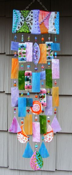Kirks Glass Art Fused Stained Glass Wind Chime windchime - Spring Fling
