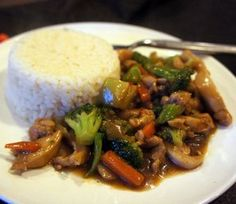 Stir fry vegetables and chicken covered in a thickened sweet and soy sauce. Perfect over white rice. Who needs Chinese takeout when this is so easy to make at home.