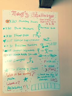 DIY  white board workout challenge