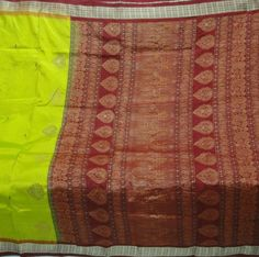 Vintage Weaving Pure Silk Golden Zari Two Color Sari Fabric Heavy Saree 480 Gram