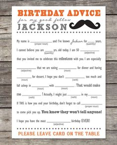 Personalized Birthday Advice - Mad Lib Cards! Digital File! | Jane