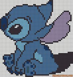 Stitch - from Lilo and Stitch. Hate the little Alien but my wife loves him so would make this for her! Stitch - from Lilo and Stitch. Hate the little Alien but my wife loves him so would make this for her! Stitch Disney, Lilo E Stitch, Disney Cross Stitch Patterns, Cross Stitch Designs, Pixel Art Stitch, Cross Stitching, Cross Stitch Embroidery, Pixel Art Minecraft, Minecraft Buildings