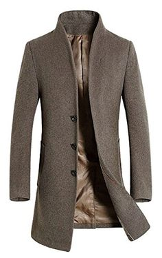 75efb917a7b7 APTRO Men s Winter Slim Fit Wool Coat Single Breasted Wool Trench Jacket  1108 Gray XS at Amazon Men s Clothing store