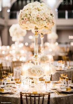 70 Ideas for classic elegant wedding reception Wedding Reception Themes, Gold Wedding Decorations, Wedding Table Flowers, Wedding Centerpieces, Tall Centerpiece, Centrepieces, Floral Centerpieces, Princess Flower, Princess Wedding