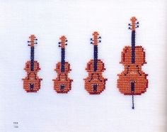 cross stitched violins (Master Collection Kazuko Aoki 13 Cross Stitch A by MeMeCraftwork)