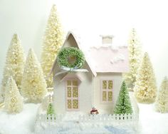 Christmas Putz Glitter House Decoration Vintage Style Victorian Pale Pink/Pastel Pink Roof-like the windows for some reason...