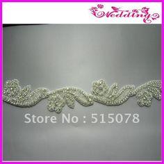 """Silver Crystal Clear Rhinestone Applique Embellishment 2.0"""" Bridal Sash :) US $144.00"""