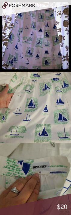 Amazing sailing/nautical motif skirt This skirt is my East Coast prep dream, but I am sadly not a size4/ 6 anymore. It is marked 12, but it isn't. Maybe it was in 1980! Two deep pockets, opaque,  high waist, knee length with smooth button/zipper at the back. Bought at a swanky thrift shop on the cape a few years back. No stains, or , deep hem.. lovely susanbee Skirts Midi