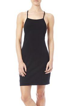 Black tankdress with crisscross back straps.   Black Crossback Dress by Bear Dance. Clothing - Dresses - Casual Oregon