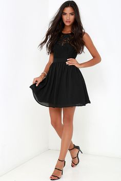 Truth and Fiction Black Lace Skater Dress at Lulus.com!