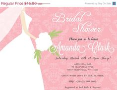 SALE Bridal Shower Invitation by Asapinvites on Etsy, $13.00
