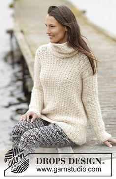"Pattern now online! #DROPSDesign jumper and detachable collar with textured pattern in ""Cloud"". #knitting"