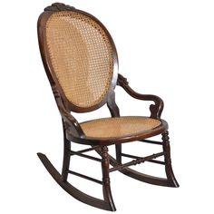 Vintage Hardwood Rocking Chair With Upholstered Back Seat