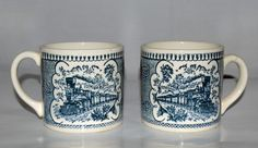 Currier and Ives Blue Coffee mugs set of 2 Royal China USA #CurrierIvesRoyalChina