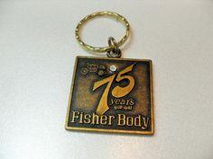 GM Fisher Body keychain, 75th Anniversary General Motors vintage advertising, Car keychain, Gifts for him, gift for her, Gingerslittlegems by GingersLittleGems on Etsy
