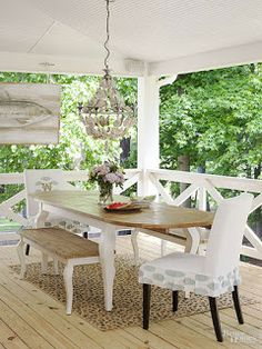 Outdoor Living: Backyard Porch Renovation: Adding a chandelier over an outdoor dining space gives it a more formal and sophisticated feel.