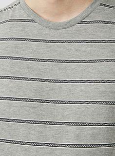 Gray Jacquard Stripe T-Shirt