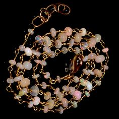 """20CRTS 3to4 MM 21"""" ETHIOPIAN OPAL RONDELLE BEADS CHAIN NECKLACE OBI2619 #OPALBEADSINDIA"""