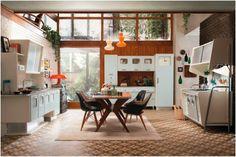 A NEW take on a retro kitchen - the 'St Louis' kitchen by Italian designers The Marchi Group St Louis Kitchen, Americana Home Decor, Retro Interior Design, Interior Colors, Estilo Interior, Deco Retro, Mid Century Modern Kitchen, Estilo Retro, Wall Cladding