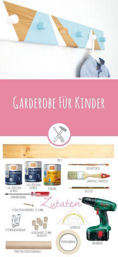 Garderobe für Kinder - gratis Anleitung für diese Hakenleiste auf meinem Blog