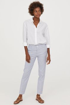 Bavlněné kalhoty chino - Bílá/modré proužky - ŽENY | H&M CZ 1