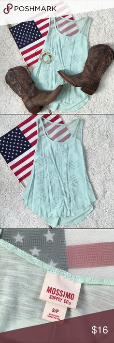 Mint top with Native print!🇺🇸💕 Mint top with Native print!🇺🇸💕 Mossimo Supply Co. Tops Tank Tops