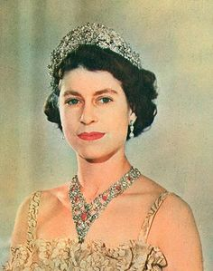 The young Queen wearing the Nizam of Hyderabad Tiara