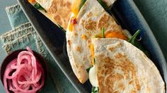 Sweet Potato and Spinach Quesadillas | Serve up a meatless meal of Sweet Potato and Spinach Quesadillas tonight.