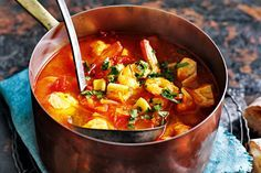 Sopa de mariscos (spanish seafood soup). Ripe tomatoes add freshness and flavour to this succulent seafood soup. http://www.taste.com.au/recipes/29595/sopa+de+mariscos+spanish+seafood+soup