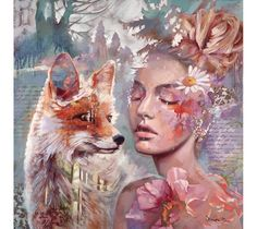 """Young master painter Dimitra Milan's whimsical and surreal artwork reflects a dreamy world where anything is possible. """"Love Starts New"""" features a portrait of a serene young girl and a playful fox."""