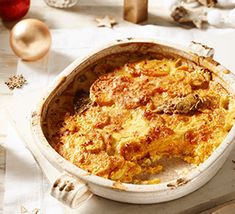 Sweet potato gratin with bay, nutmeg and chilli is a rich and indulgent side dish