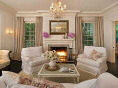 Shabby chic living room in Jessica Simpson's Beverly Hills home, designed by Rachel Ashwell. Chic Furniture, Home Living Room, Chic Living Room, Family Room, Home, House Styles, House Interior, Home And Living, Shabby Chic Living
