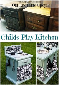 Curb Alert! : Ugly Old EndTable Upcycle to Childs Plat Kitchen!