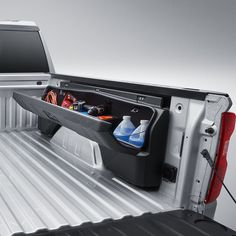 The Silverado Side Mounted Bed Storage Box maximizes the bed functionality with organization and security Organize and secure your valuable cargo with Truck Accesories, Truck Bed Accessories, Offroad Accessories, Wrangler Accessories, Pick Up, Truck Tools, Truck Tool Box, Pickup Tool Boxes, New Pickup Trucks