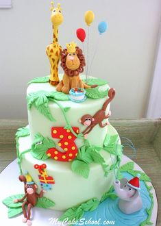 Learn to create ADORABLE jungle cake in this cake decorating video tutorial! Emphasis on figure modeling techniques. Jungle Birthday Cakes, Jungle Theme Cakes, Animal Birthday Cakes, Safari Cakes, Themed Birthday Cakes, Themed Cakes, 2nd Birthday, Animal Cakes For Kids, Zoo Animal Cakes