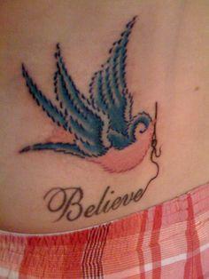 Embroidery Bird Tattoo