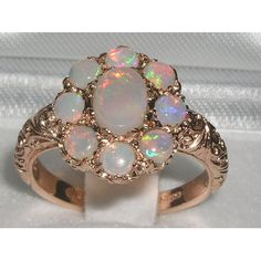 English+9K+9ct+Rose+Gold+Genuine+Opal+Ring++Made+by+GemsofLondon,+$319.00