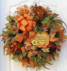 Fall Wreath, Fall Burlap Wreath, Fall Mesh Wreath, Pumpkin Wreath, Fall Floral Wreath, Fall Decor, Thanksgiving Wreath, Give Thanks Wreath